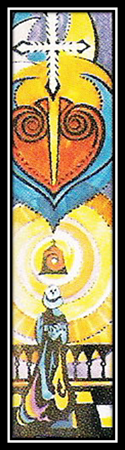 The Cross has pierced the heart of Christ. Below this in a similar form of symbolism to the Sacred Heart is the tabernacle-recalling Nano Nagle's extraordinary devotion to the Blessed Eucharist. The image is used to illustrate the power of God radiating from the tabernacle, and from the Mass itself- this was and is naturally the centre of the spirituality of the Presentation Sisters.  It was Nano's custom,  no matter how busy the day, to spend several hours in prayer before the Blessed Sacrament- the image of Nano below the tabernacle knelt in prayer.